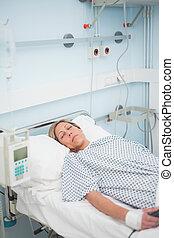 γυναίκα , κειμένος , ασθενής , κρεβάτι , αδιαπέραστος άποψη , ιατρικός