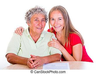 γυναίκα , κόρη , ηλικιωμένος , αυτήν