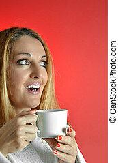 γυναίκα , κύπελο , καφέs , όμορφος
