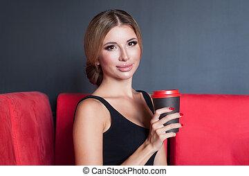 γυναίκα , κύπελο , όμορφος , καφέs