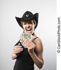 γυναίκα , λεφτά.