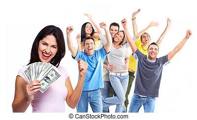 γυναίκα , λεφτά. , ευτυχισμένος