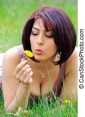 γυναίκα , λουλούδι