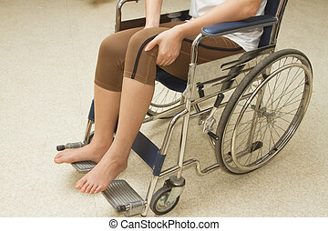 γυναίκα , μέσα , ένα , αναπηρική καρέκλα