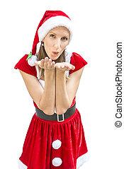 γυναίκα , μέσα , ένα , xριστούγεννα , φόρεμα , φύσηξα ανάλογα με αγγίζω ελαφρά , σε , εσείs