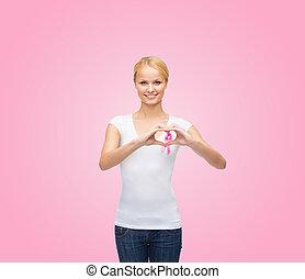 γυναίκα , μέσα , κενό , φανελάκι , με , ροζ , καρκίνος ,...