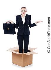 γυναίκα , μέσα , σκεπτόμενος , έξω , από , κουτί , γενική ιδέα