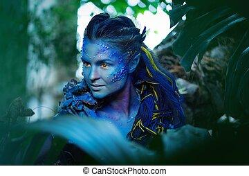 γυναίκα , μαγικός , avatar, δάσοs