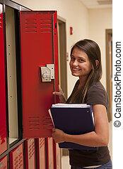 γυναίκα μαθητής , ακάλυπτη θέση , locker.
