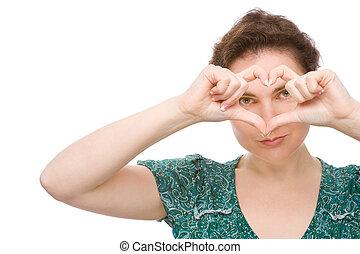 γυναίκα , με , καρδιά , σήμα