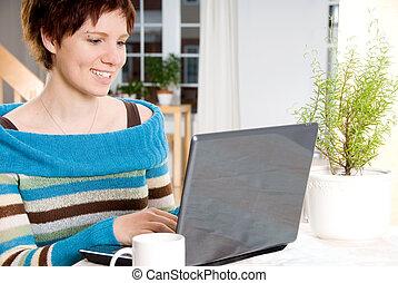 γυναίκα , με , laptop