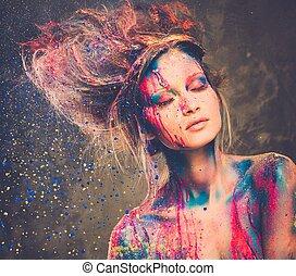 γυναίκα , μούσα , σώμα αριστοτεχνία , νέος , κτένισμα , δημιουργικός