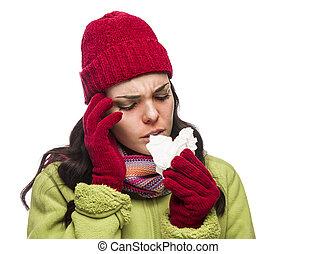 γυναίκα , μύτη , αυτήν , ανακάτεψα , άρρωστος , φυσώντας , αγώνας , χαρτομάντηλο , πονεμένο