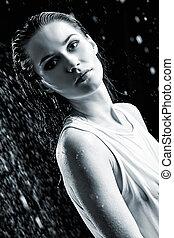 γυναίκα , νέος , άθυμος , νερό , μαύρο , πορτραίτο , άσπρο , studio.