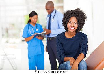 γυναίκα , νέος , αναμονή , αφρικανός , ιατρικός ανάκριση