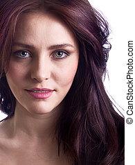 γυναίκα , νέος , απομονωμένος , closeup , ελκυστικός , πορτραίτο