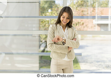 γυναίκα , νέος , γραφείο