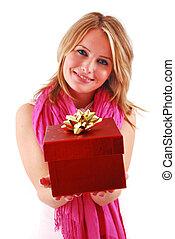 γυναίκα , νέος , δώρο