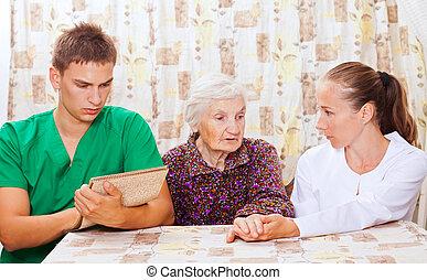 γυναίκα , νέος , ηλικιωμένος , γιατροί