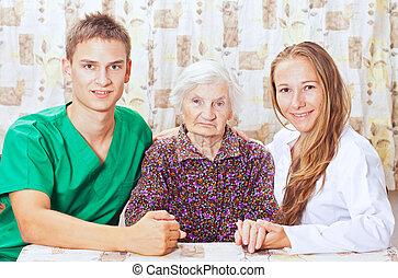 γυναίκα , νέος , ηλικιωμένος , γιατρός