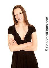 γυναίκα , νέος , μαύρο , πορτραίτο , ελκυστικός προς το αντίθετον φύλον , φόρεμα