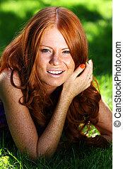 γυναίκα , νέος , πορτραίτο , red-haired , όμορφος