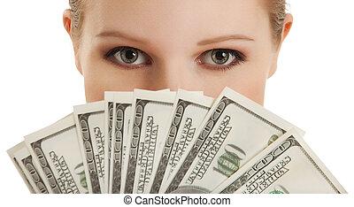γυναίκα , νέος , money-, ζεσεεδ , όμορφος , δολλάρια