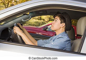 γυναίκα , οδήγηση , αγώνας αυτοκινήτων , κυκλοφορία , δίνω ...