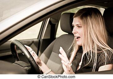 γυναίκα , οδήγηση , αυτοκίνητο , - , νέος , ατύχημα , πριν