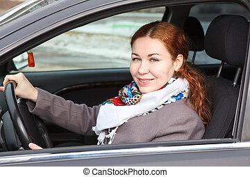 γυναίκα , οδήγηση , αυτοκίνητο , νέος , όμορφη , καυκάσιος