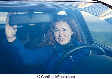 γυναίκα , οδήγηση , αυτοκίνητο , πίσω , επεξεργάζομαι , όμορφη , καθρέφτηs , ακριβής
