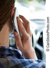 γυναίκα , οδήγηση , λόγια , κινητός , άμαξα αυτοκίνητο τηλέφωνο , ενώ