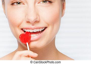 γυναίκα , οδοντιατρικός , κόκκινο , δηκτικός , γλειφιτζούρι , αναζωογονώ