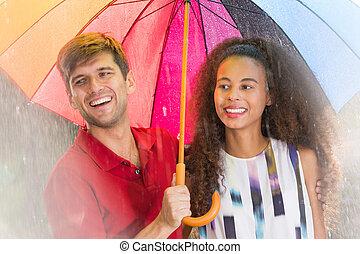 γυναίκα , ομπρέλα , άντραs