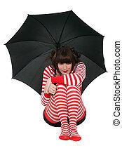 γυναίκα , ομπρέλα , ντύθηκα , γραμμή , κράτημα , πρότυπο , ρουχισμόs , κόκκινο