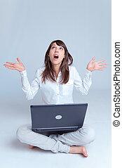 γυναίκα , πάνω , νέος , πάτωμα , ατενίζω , laptop