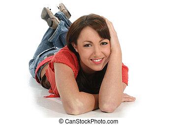 γυναίκα , πάτωμα , χαμόγελο