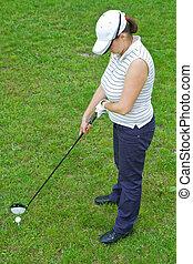γυναίκα , παίχτης , μπαστούνι , γκολφ