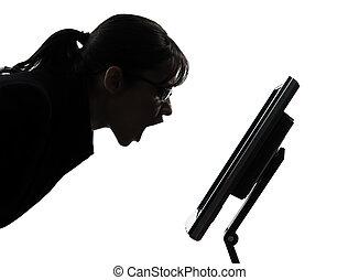 γυναίκα , περίγραμμα , επιχείρηση , χρήση υπολογιστή , θυμωμένος , ηλεκτρονικός υπολογιστής , σκούξιμο