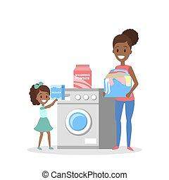γυναίκα , πλυντήριο , βρώμικος , βάζω , ρούχα