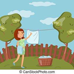γυναίκα , πλύση , βρεγμένος , μετά , νέος , εικόνα , μικροβιοφορέας , έξω , απαγχόνιση , γραμμή , ρούχα