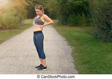 γυναίκα , πονώ , αυτήν , αθλητής , ανακουφίζω , πίσω , ...