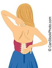 γυναίκα , πονώ , αυτήν , χειροπρακτική , τριβή , νέος , back., ανακούφιση , γενική ιδέα , επώδυνος