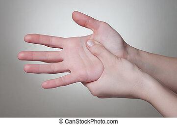 γυναίκα , πονώ , χέρι