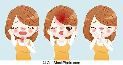 γυναίκα , πτάρνισμα , γελοιογραφία , άρρωστος