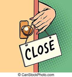 γυναίκα , πόρτα , αναρτώ , χέρι , κλείνω , σήμα