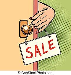 γυναίκα , πόρτα , πώληση , αναρτώ , ανάμιξη αναχωρώ