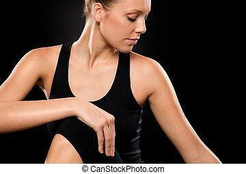 γυναίκα , σπονδυλική στήλη , λαμβάνω στάση , νέος , μελαχροινή , δέσμη