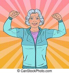 γυναίκα , τέχνη , υγιεινός , muscles., κρότος , αρχαιότερος , lifestyle., μικροβιοφορέας , εικόνα , ώριμος , γιαγιά. , χαμογελαστά , δυνατός , εκδήλωση , ευτυχισμένος