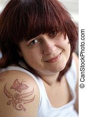 γυναίκα , τατουάζ , νέος